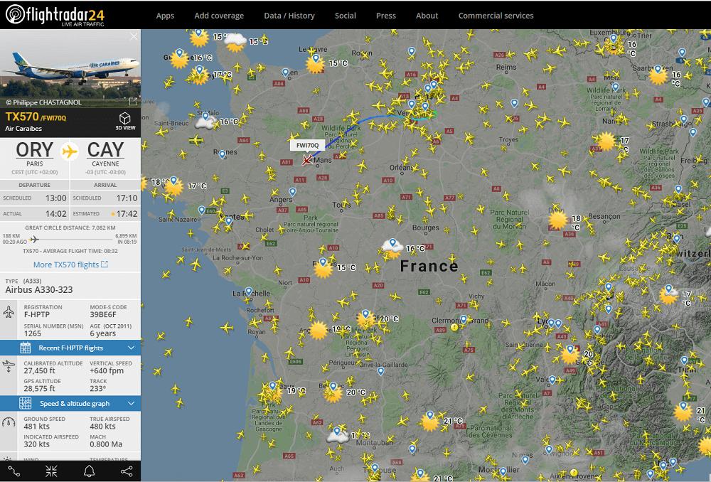 Trafic aérien en temps reel